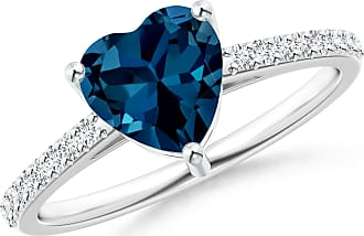 Angara Heart London Blue Topaz Ring with Diamond Accents