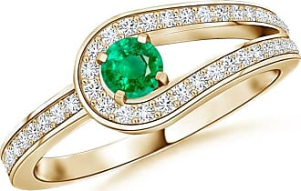 Angara Infinity Love Knot Solitaire Emerald Ring with Diamond
