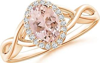 Angara Infinity Twist Oval Morganite Halo Engagement Ring with Diamonds