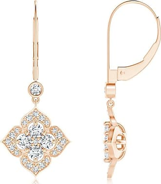 Angara Leverback Round Diamond Flower Dangle Earrings