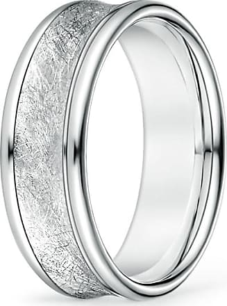 Angara Mens Concave Satin Surface Center Comfort Fit Wedding Band