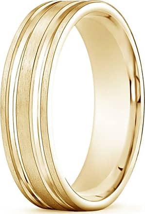 Angara Mens Polished Parallel Grooved Comfort Fit Wedding Band