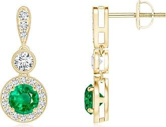 Angara Milgrain-Edged Sapphire and Diamond Halo Dangle Earrings in Rose Gold
