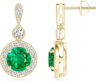 Angara Dangling Emerald and Diamond Halo Earrings with Milgrain in Platinum
