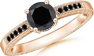 Angara Milgrain Edges Enhanced Black Diamond Solitaire Ring(6.2mm) Rose Gold