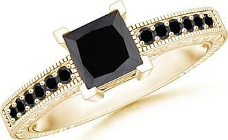 Angara Milgrain Edges Princess Black Diamond Solitaire Ring(5.2mm)