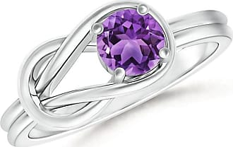 Angara Natural Solitaire Amethyst Infinity Knot Ring