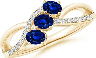 Angara Sapphire and Diamond Semi Eternity Band Yin Yellow Gold