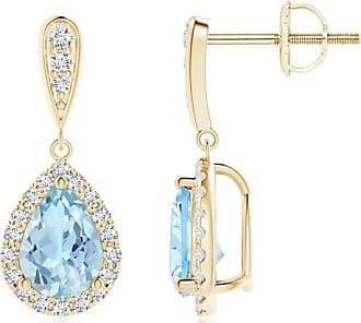 Angara Princess Blue and Diamond Halo Love Knot Earrings(4.2mm)