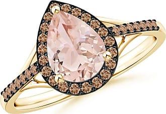 Angara Pear-Shaped Morganite Ring with Brown Diamond Halo
