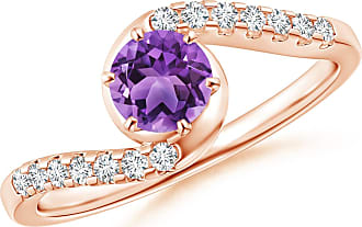 Angara Half Bezel Solitaire Round Amethyst Bypass Ring