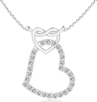 Angara Prong-Set Diamond Interlocking Twin Heart Pendant