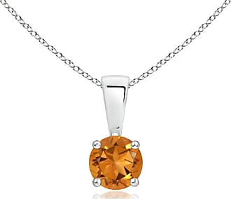 Angara Round Citrine Necklace for Women in Platinum