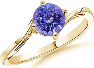 Angara Prong Set Round Sapphire Curved Shank Ring in Yellow Gold