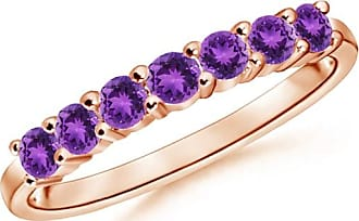 Angara Round Diamond and Amethyst Half Eternity Wedding Ring