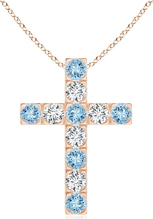 Angara Flat Prong-Set Aquamarine and Diamond Cross Pendant