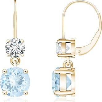 Angara Round Aquamarine and Diamond Lever Back Earrings
