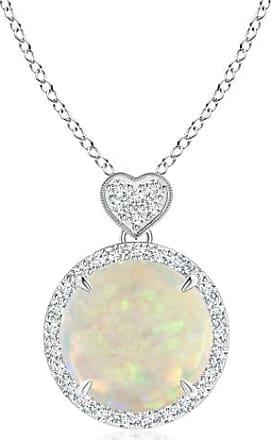 Angara Opal Halo Pendant with Diamond Heart Motif