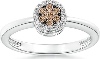 Angara Brown Diamond Cushion Halo Ring in Platinum - Angaras Coffee Diamond