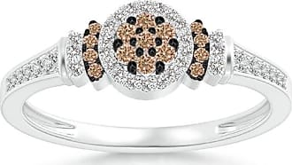 Angara White and Brown Diamond Cluster Halo Ring - Angaras Coffee Diamond