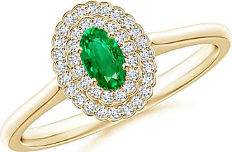 Angara Scallop-Edged Diamond Double Halo Emerald Vintage Ring