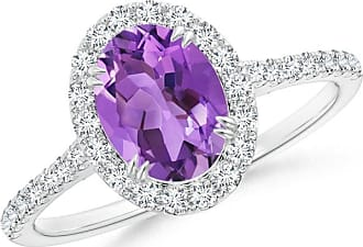 Angara Secured Claw Oval Amethyst and Diamond Halo Ring in White Gold