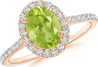 Angara Secured Claw Oval Peridot and Diamond Halo Ring in Rose Gold