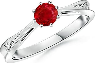 Angara Secured Prong Ruby Solitaire Ring with Diamond Accents in Platinum