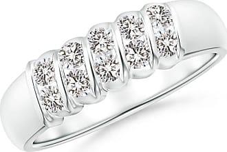 Angara Slanted Bar-Set Diamond Ten Stone Wedding Band