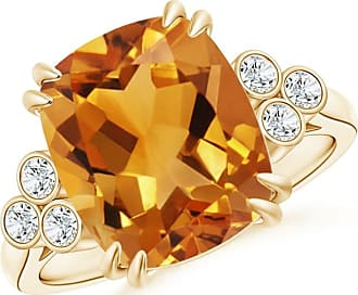 Angara Solitaire Double Claw Citrine Trinity Ring with Diamond