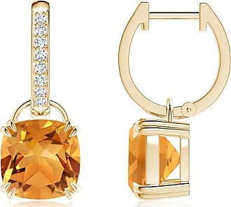 Angara Solitaire Double Claw Cushion Garnet Dangling Earrings in Yellow Gold