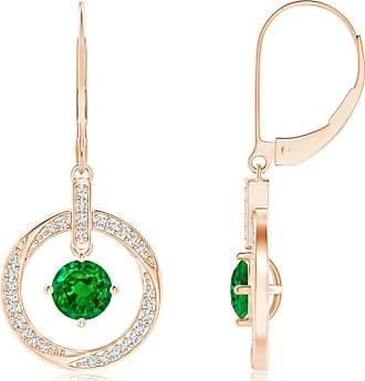 Angara Heart Shaped Emerald Drop Earrings in Platinum