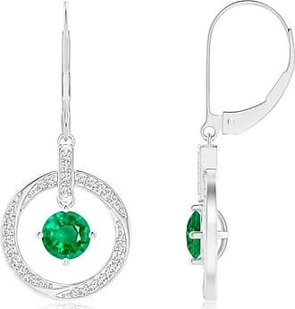 Angara Rose Gold Round Emerald Dangle Earrings with Diamond