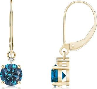 Angara Princess Blue Diamond Three Stone Journey Earrings(3.5mm)