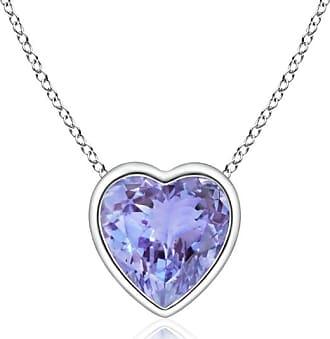 Angara Solitaire Heart Tanzanite Bezel-Set Pendant in Platinum