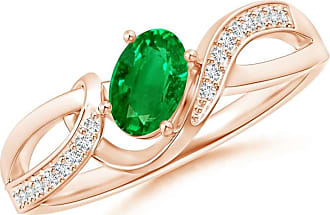 Angara Bar-Set Solitaire Round Emerald Bypass Ring
