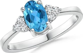 Angara Solitaire Oval Swiss Blue Topaz Ring with Trio Diamond Accents