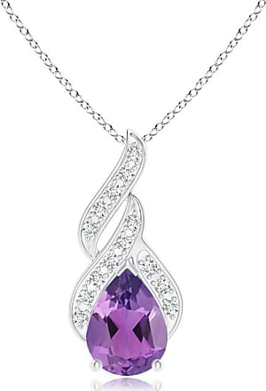 Angara Solitaire Pear-Shaped Amethyst Flame Pendant