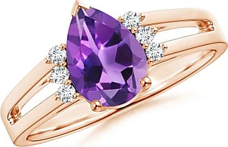 Angara Solitaire Pear Amethyst Split Shank Ring With Linear Diamond Accents