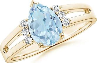 Angara Celtic Knot Shank Solitaire Princess Blue Diamond Ring(4.9mm)