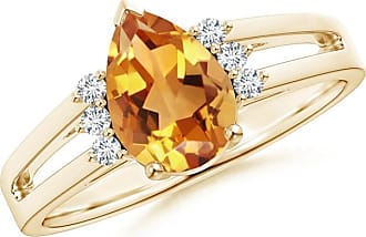 Angara Solitaire Pear Citrine Split Shank Ring With Linear Diamond Accents