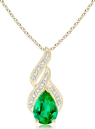 Angara Solitaire Pear-Shaped London Blue Topaz Flame Pendant