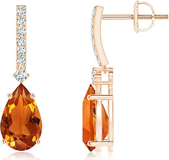 Angara Solitaire Pear Citrine Drop Earrings with Diamonds