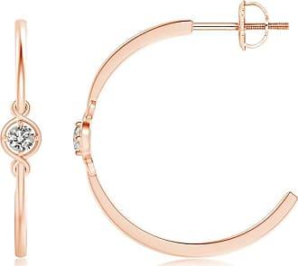 Angara Pave-Set Round Diamond Twisted Hoop Earrings