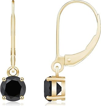 Angara Round Enhanced Black Diamond Three Stone Hoop Earrings(4mm)