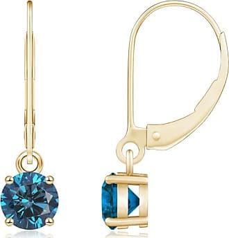 Angara Channel Set Princess Enhanced Blue Diamond Half Hoop Earrings(2mm)