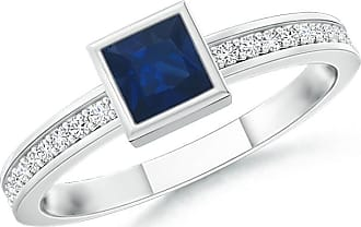 Angara Cushion Sapphire and Diamond Double Halo Ring in White Gold