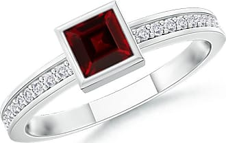 Angara Square Ruby Framed Diamond Halo Promise Ring in Yellow Gold