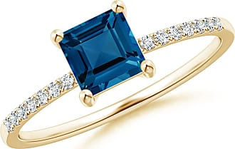 Angara Classic Semi-bezel Solitaire Blue Diamond Ring(5.8mm)