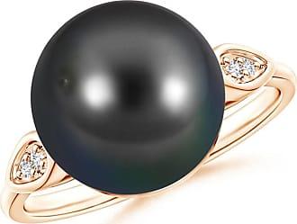 Angara Tahitian Cultured Pearl Ring with Trio Diamonds